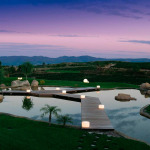 Can Bonastre Wine Resort Garden Lake View Evening